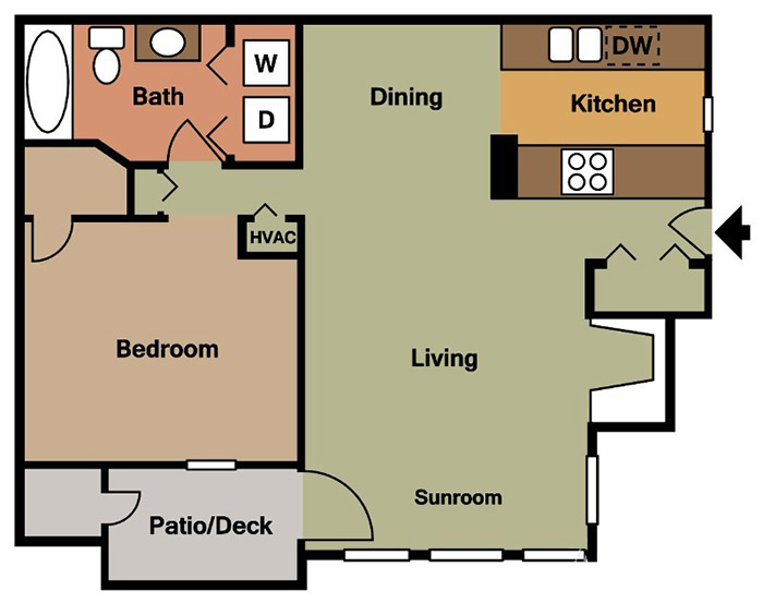 1 Bedroom. Birmingham  AL Apartments   Colony Woods   Floorplans